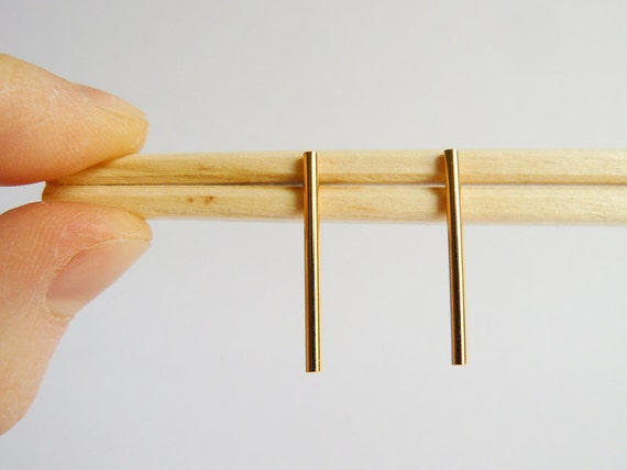 Gold Bar Earrings - Medium Dangle Earing Bars - Minimalist Line Studs - Drop Ear Bars - Handmade in Brooklyn - by Hook and Matter