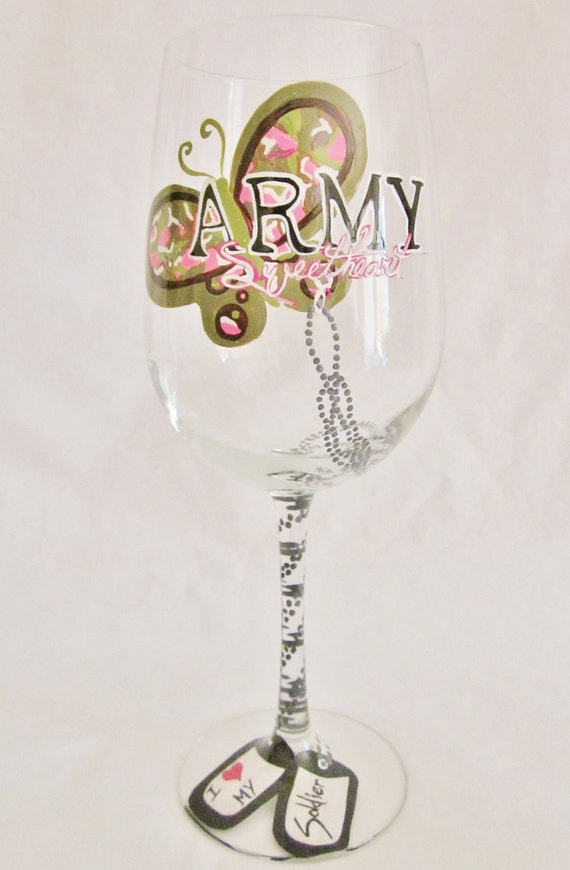 Army Sweetheart Hand Painted Wine Glass by Mimossa Studio