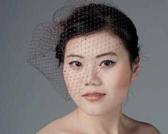 Brown Birdcage Veil Blusher -rhinestone dotted-
