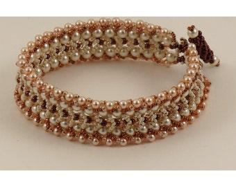 Woven Swarovski Peaches and Cream Bracelet - 7 inches