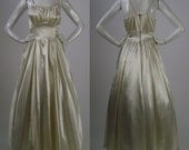 Vintage 40s sleeveless cream satin wedding dress / s / candlelight satin bridal gown with braided straps / 1940s full skirt