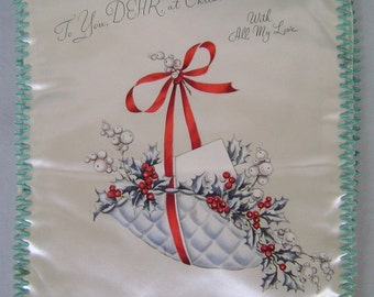 Vintage 40s Handkerchief Case, Satin Hanky Case, Christmas Floral, Quilted Red, White Satin, Blue Rickrack, Flowers, Red Ribbon, Giftworthy