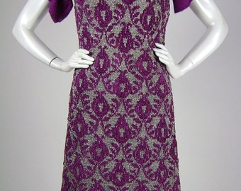 Vintage 1960s Dress, Hand-Knit  by Norma Lepofsky, Purple and Silver Lurex Brocade Pattern, Short Sleeve Minidress, B34 H36