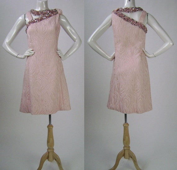 RESERVED Martha 11/26/13  60s Dress / Sleeveless Dress / Cherry Blossom / Sequin Trim  / A-line Style / Marty Modell / Small B34