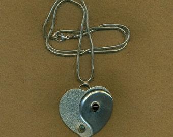 Silver Heart Pendant Yin Yang Sterling Silver Snake Chain Red Garnet Birthstone Gemstone (HTP-104)