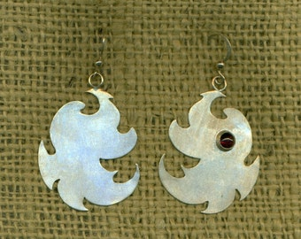 Abstract Earrings Sterling Silver Garnet Cabochon Artisan Dangle Red Metalwork  (E-301)