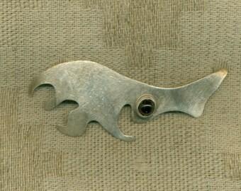 Sterling Silver Brooch Abstract  Red Garnet Pin  (SS-1002)