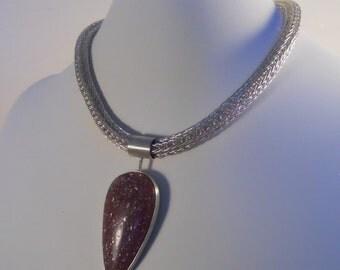 Etruscan Chain Necklace, Lepidolite Muscovite Pendant, Loop in Loop / Roman, Fine Silver Chain, Statement Choker  (FSN-104)