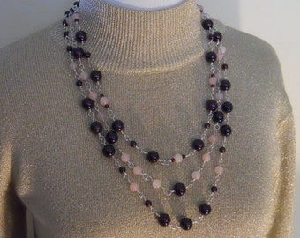Rose Quartz Necklace Earring Set Sterling Silver Garnet Triple Strand Red Pink Wire Wrapped Statement Bead (M-137)
