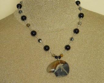 Zuni Bear Pendant Necklace Picasso Jasper Black Gray Tan Beaded Single Strand Sterling Silver Wire Wrapped Statement Gemstone  (M-145)
