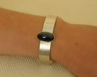Sterling Silver Bracelet Cuff Hawk's Eye Cabochon Gemstone Metalwork Hand Fabricated  (SSB-102)