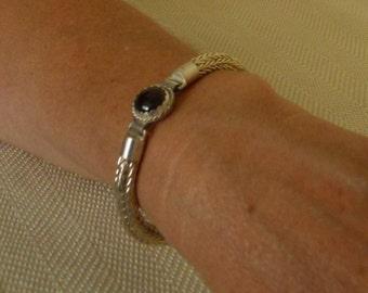 Fine Silver Bracelet Loop in Loop Chain Fire Agate Gemstone Clasp Etruscan Roman Bangle  (FSB-302)