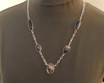Chain Necklace Fine Silver Loop-in-loop Banded Agate Cabochons Gemstone Strand (FSN-601)