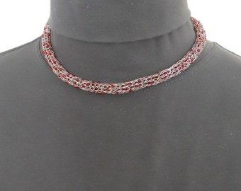 Viking Knit Necklace Bracelet Set Sterling Silver Red Beaded Choker  (WN-103)