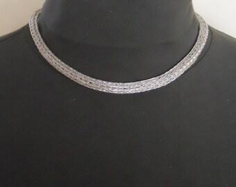 Etruscan Necklace Choker Fine Silver Chain  Loop in Loop Roman Hand Fabricated  (FSN-110-2)