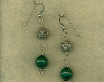 Malachite Bead Earrings Dangle Bali Silver Beads Sterling Silver Green Gemstone Wire Wrapped  (E-107)