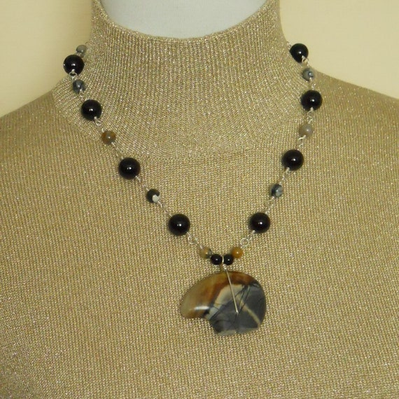 Zuni Bear Pendant Necklace Picasso Jasper Black Gray Tan Beaded Single Strand Sterling Silver Wire Wrapped Statement Gemstone  (M-145)
