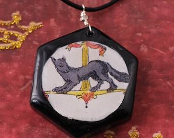Ermine Necklace - Ermine Pendant - Medieval Necklace - Medieval Pendant - Mink Necklace - Mink Pendant - Game Tile Necklace