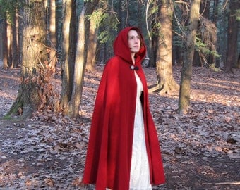 Red Cloak - Wool Cloak - Hooded Cloak - Long Cloak - Cloak with Hood - Cloaks and Capes