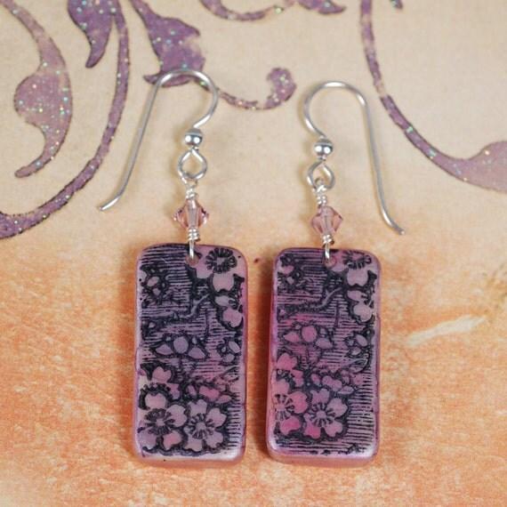 Purple Flower Earrings - Domino Earrings - Purple Earrings - Flower Earrings