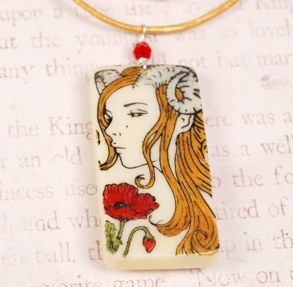 Aries Zodiac Necklace - Red Flower Necklace - Aries Necklace - Aries Pendant - Zodiac Necklace - Zodiac Pendant