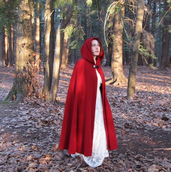 Red Cloak - Half-Circle Cloak - Wool Cloak - Red Riding Hood Costume - Cloak with Hood - Cloaks and Capes
