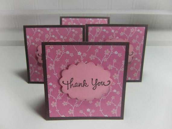 Cherry Blossom  Thank You Mini Cards Blank Cards( Set of 4)