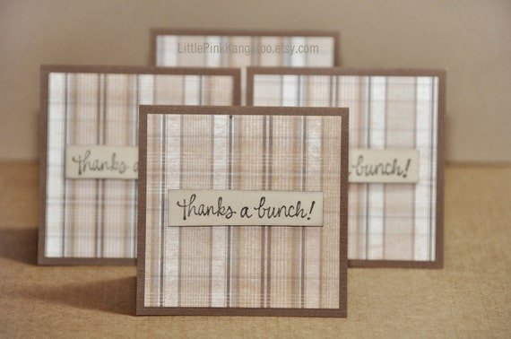 Brown and Beige Plaid - Thanks a bunch Thank you  Mini Cards