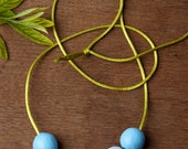 Blue and Gray Large Beaded Clay Necklace