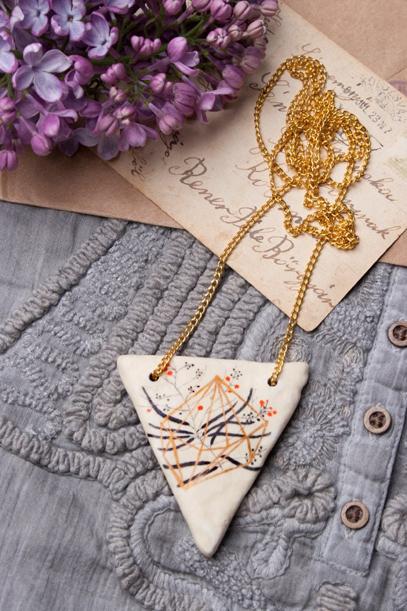 RESERVED ! Geometric Necklace,  Golden Triangle Pendant, Geometry, Nature, Handmade Jewelry, Statement, Air Dry Clay Ceramic, Pencil Drawing