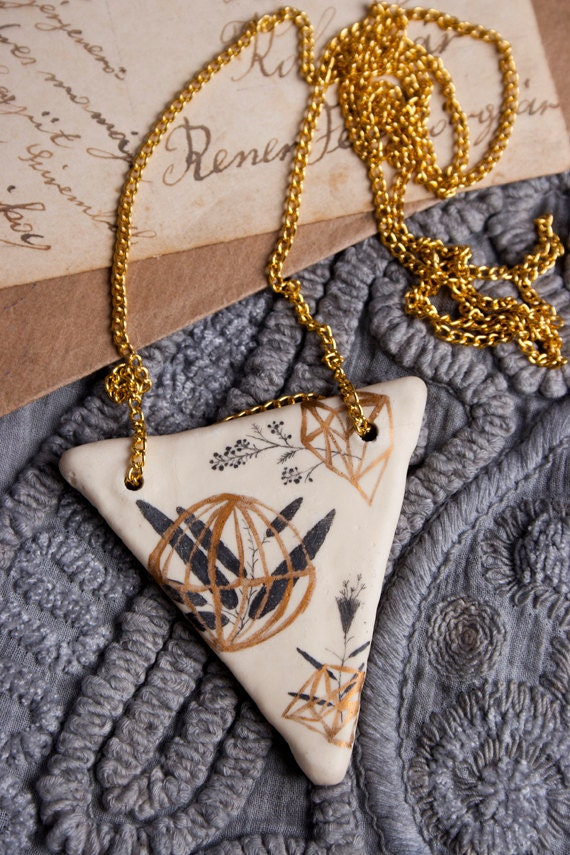 Geometric Necklace, Geometry Pendant, Golden Pendants, Hand painted Jewelry, Clay Jewelry, Flowers, Autumn Trends, Triangle, Triangel