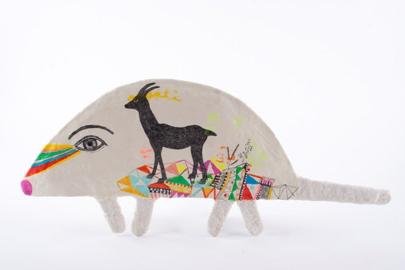 Mixed Media Clay Mouse and Deer Animal Art Object Wall Decor - The Journey