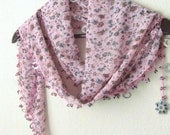 Soft PINK  Traditional Turkish Oya Scarf- authentic, romantic,  fashion,weddings,bridal,lilac,pink,grey
