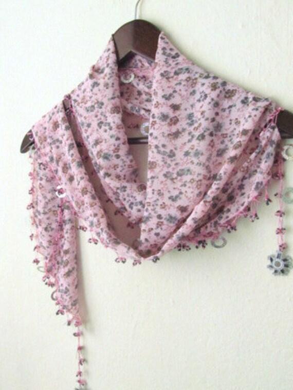Soft PINK  Traditional Turkish Oya Scarf- authentic, romantic,  fashion,weddings,bridal,lilac,pink,grey