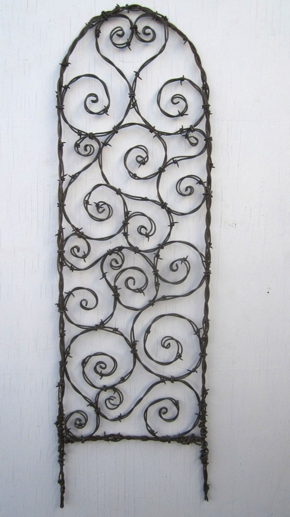 Random barbed wire spirals trellis made to order for Trellis made to order