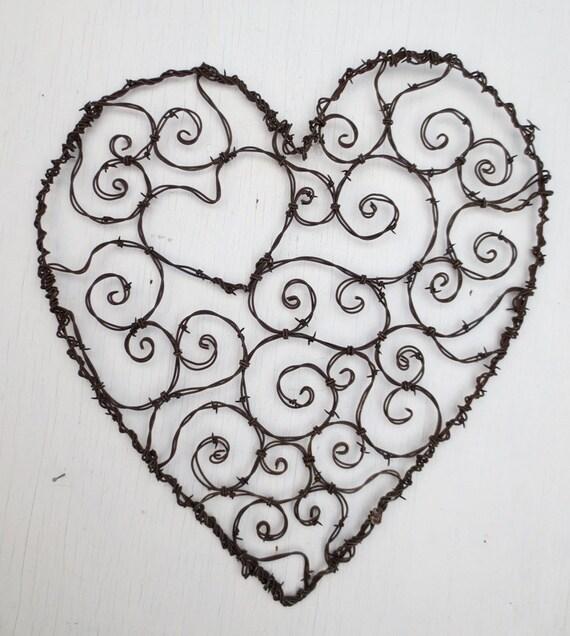 Burly Spirillian Barbed Wire Heart of Spirals For Your Valentine Garden Trellis