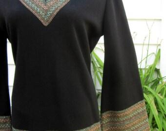 Elegant Vintage 1970s 2pc Womans Italian Black Wool Knit Tunic Dress w/ Glitter Details sz 16