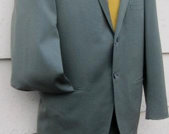 Mad Men Vintage 1960's Man's 2pc Muted Blue/Green Shark Skin Suit by Hampton Heath