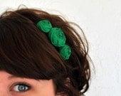 Kelly Green Rosette Flower Headband - Green Floral Statement Headpiece