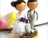 Wedding Cake Toppers Bride Groom with 1 Pet Custom Clothespin Dolls Personalized Whimsical 3D Accents Anniversary Cute CreativeButterflyXOX