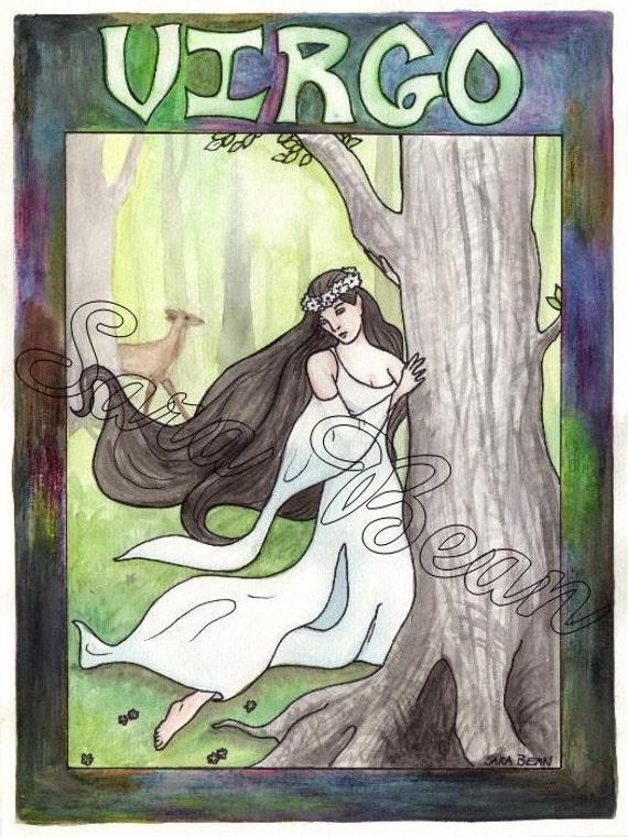 VIRGO ELF PAINTING - Original Painting from The Fantasy Zodiac, 8.5 by 11.5 Inch Watercolor, Lovely Elf Maiden Astrology Artwork