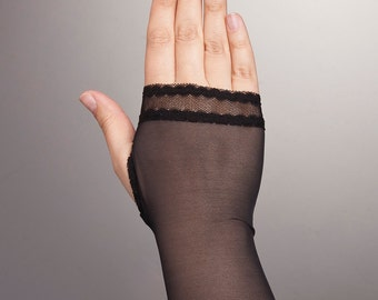 Simple Short BLACK Fingerless Gloves