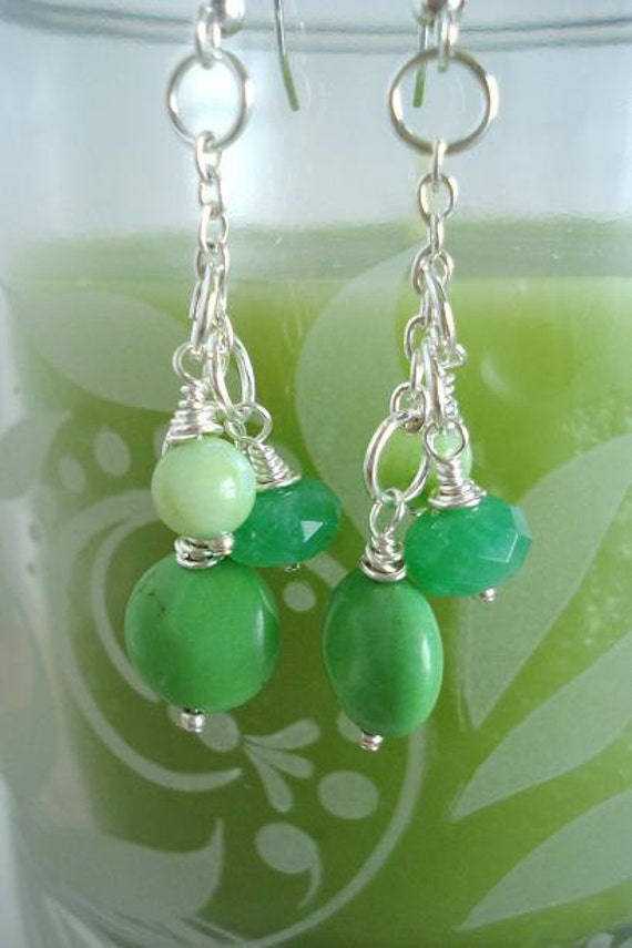 Clearance, Green  Dangle Earrings, Green Jade, Mother of Pearl, Green Apple Turquoise