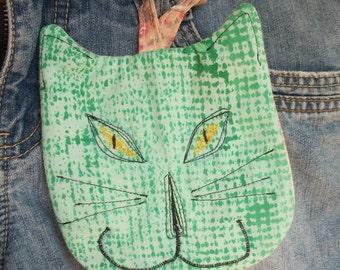 Cat Zipper Pouch. iPhone Case Coin Purse Hand Painted Green