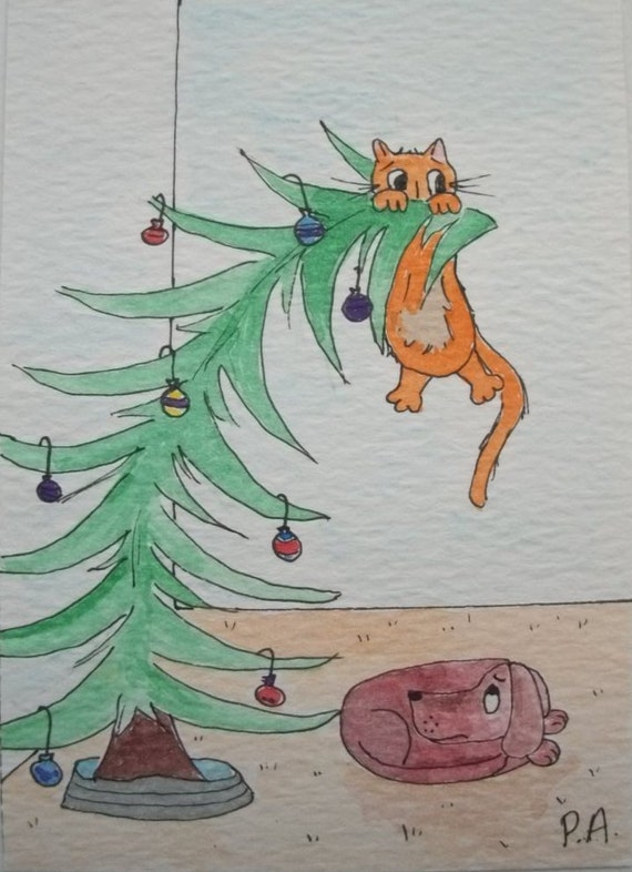 "Christmas Kitty ACEO - ""Help please"" - Original Watercolor - Clearance"
