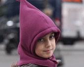 Cozy Fleece Hoodie Hat . Cagoule douce en polaire - LEDETA col. 28 eggplant