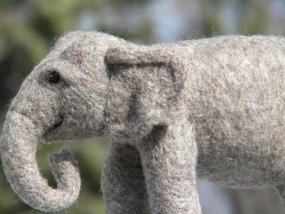 Needle Felted Elephant Sculpture