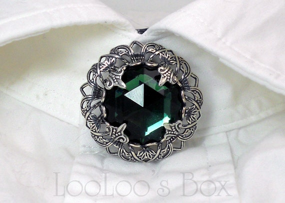 Collar Button Cover, Silver Filigree & Vintage Faceted Green Glass BC005 by Robin Delargy LooLoo's Box Handcrafted Jewelry
