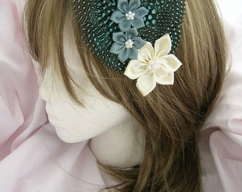 BELLDANDY - Lovely baby blue spotted feather fascinator with 3 satin ribbon flowers  - CHOOSE headband, comb, or alligator clip