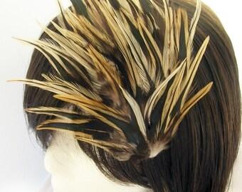 Steampunk Brown Tonal Feather Fascinator - MINA design - CHOOSE headband, comb, hair clip